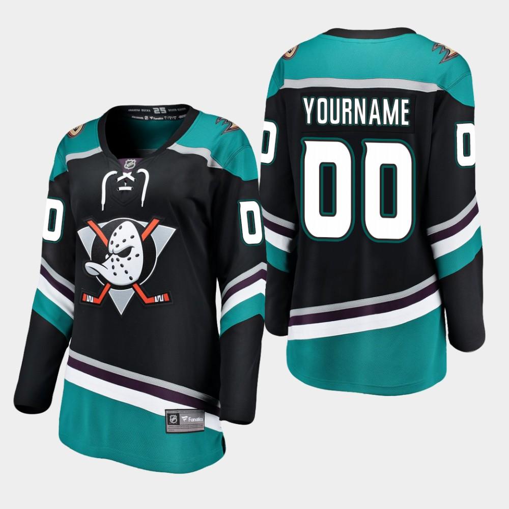 Jersey Black Custom Alternate Anaheim Ducks Women's