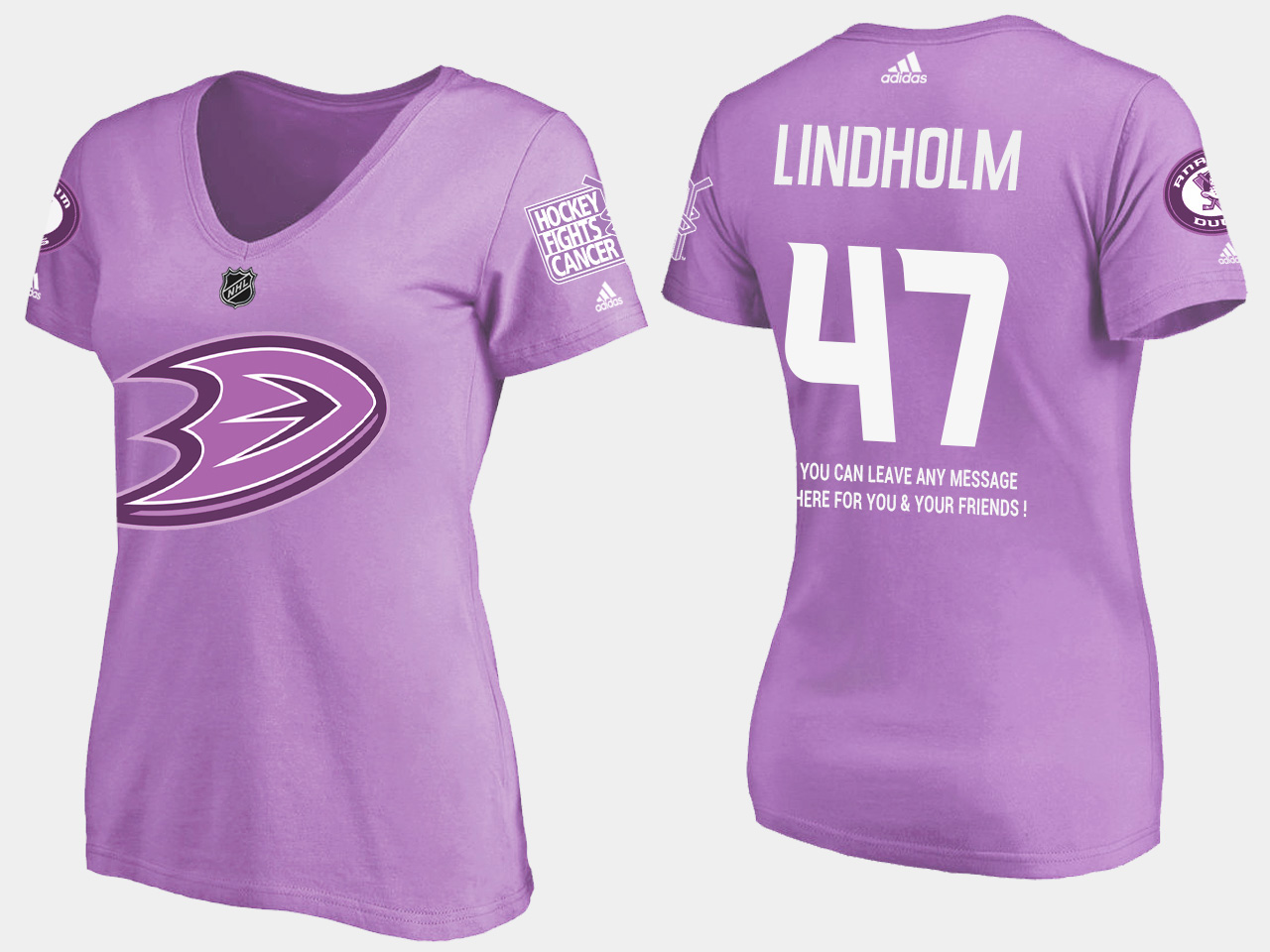 Anaheim Ducks Women's Hampus Lindholm Purple T-Shirt Fights Cancer