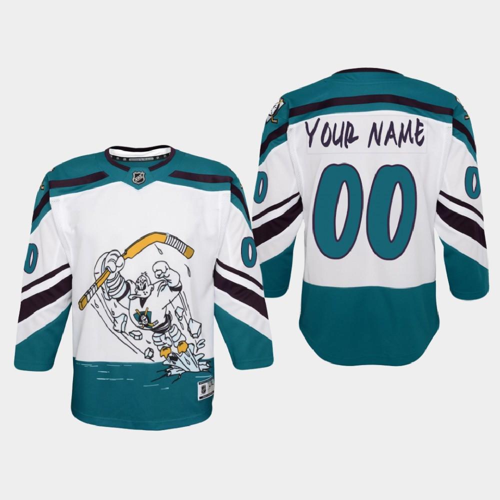 White Jersey Reverse Retro Custom Anaheim Ducks Youth