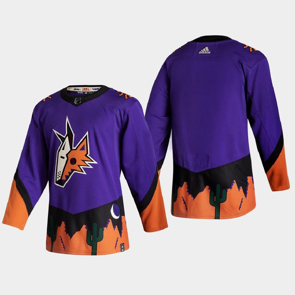 Men's Jersey Reverse Retro Arizona Coyotes Purple Blank