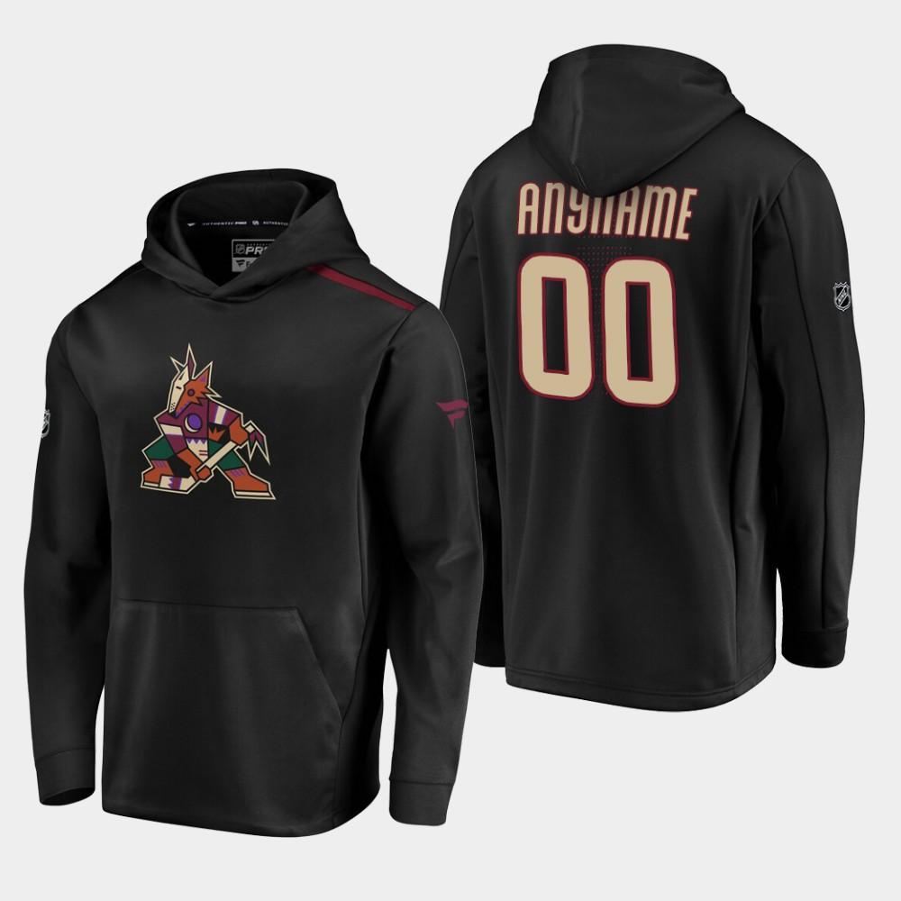Men's Black Custom Arizona Coyotes Hoodie Alternate Logo