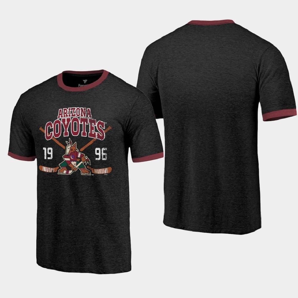Men's Black Arizona Coyotes Buzzer Beater Ringer T-Shirt