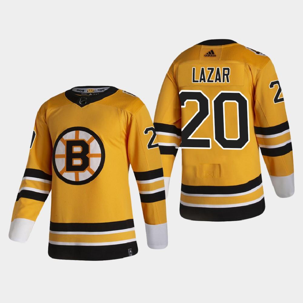 Men's Jersey Reverse Retro Gold Boston Bruins Curtis Lazar