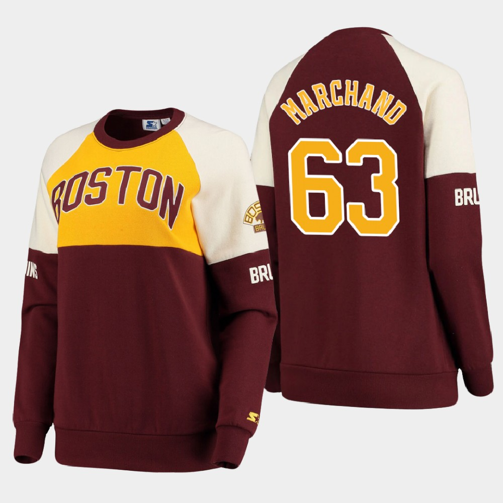 Women's Boston Bruins Brad Marchand Sweatshirt Baseline Raglan Brown