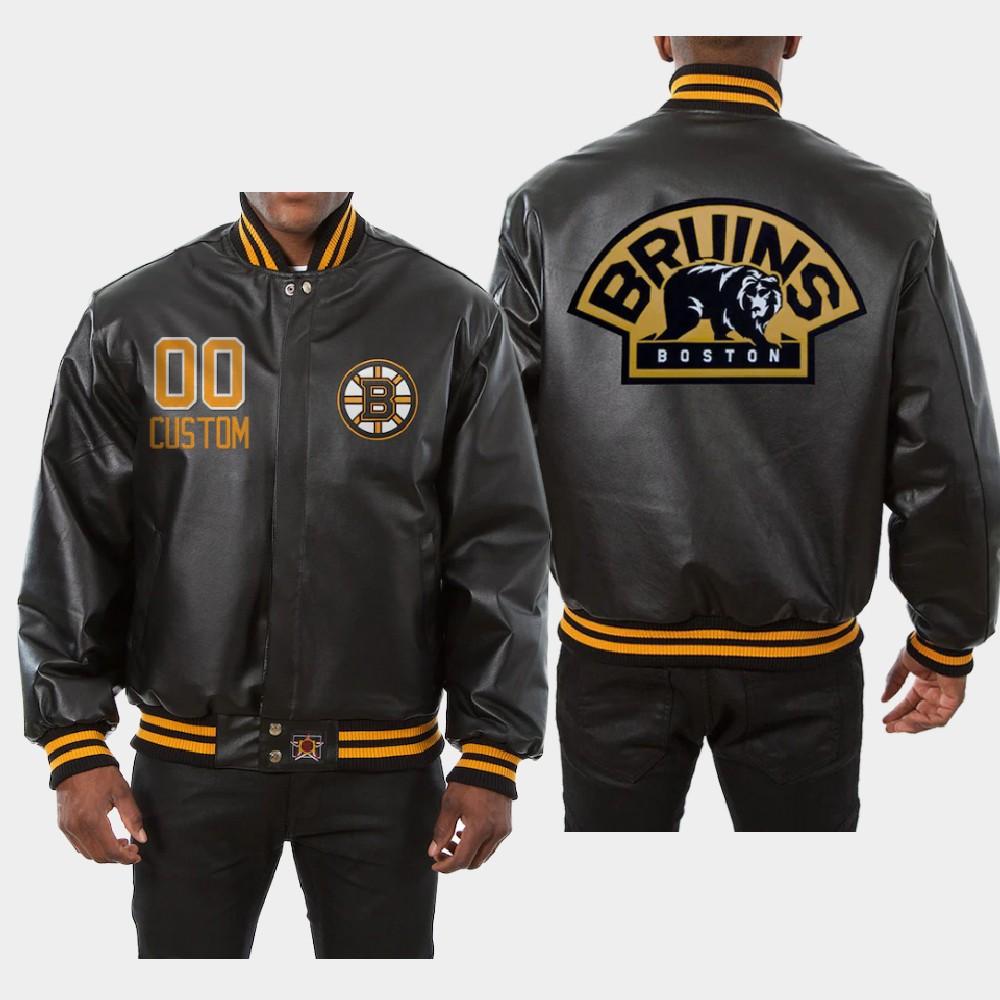 Men's Black Custom Boston Bruins Jacket All-Leather