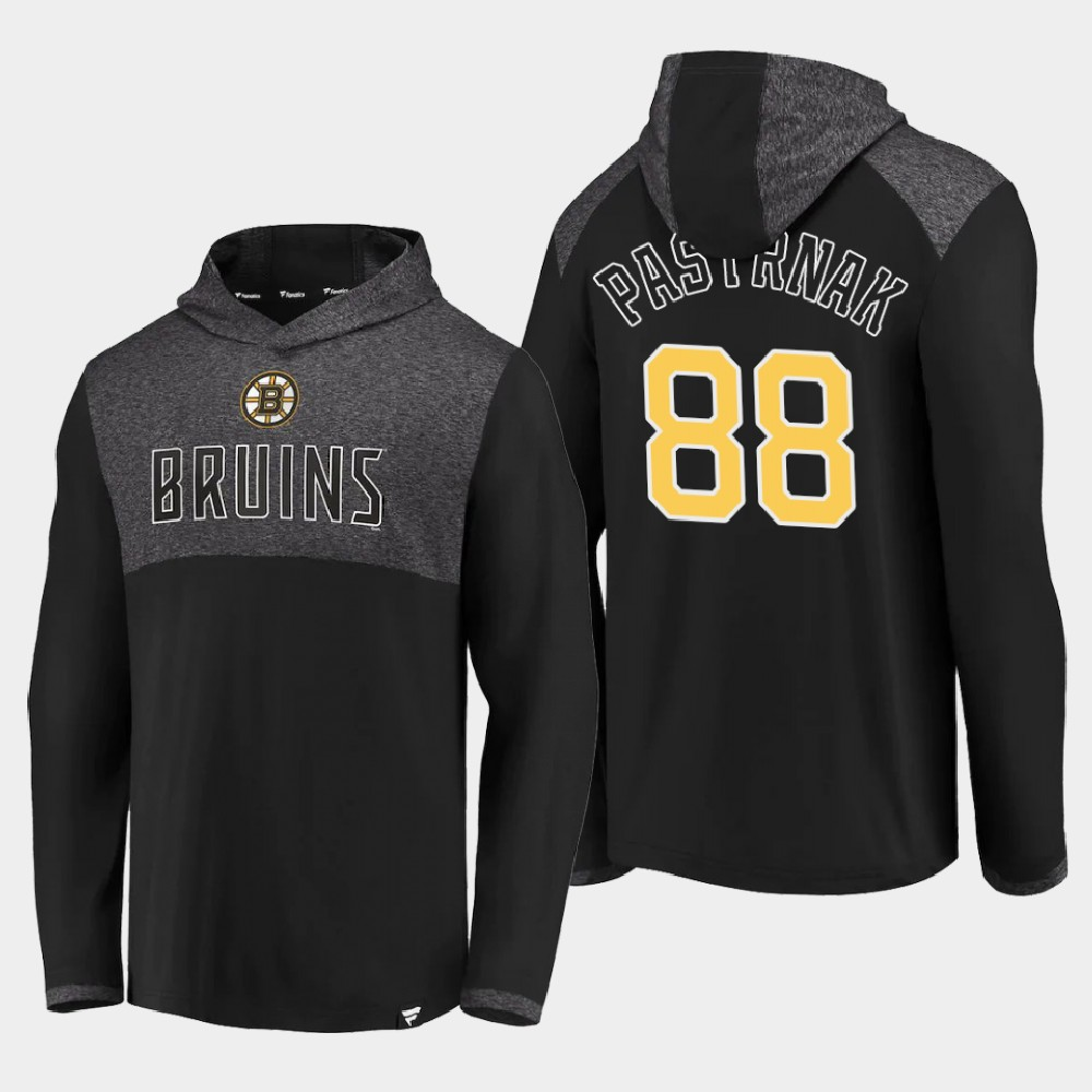 Men's Black Boston Bruins David Pastrnak Hoodie Iconic Marbled Clutch