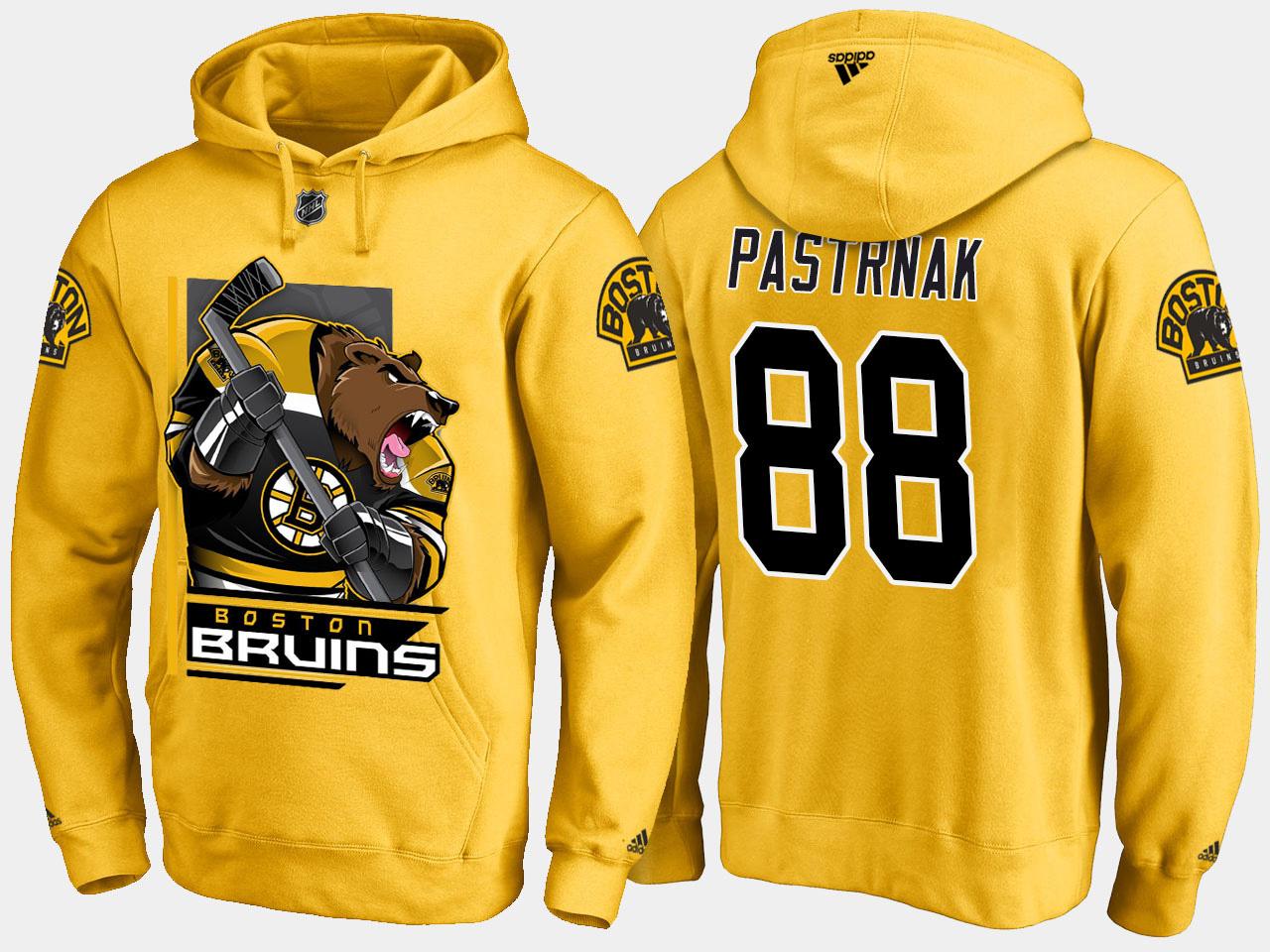 Men's Gold Boston Bruins David Pastrnak Cartoon Hoodie