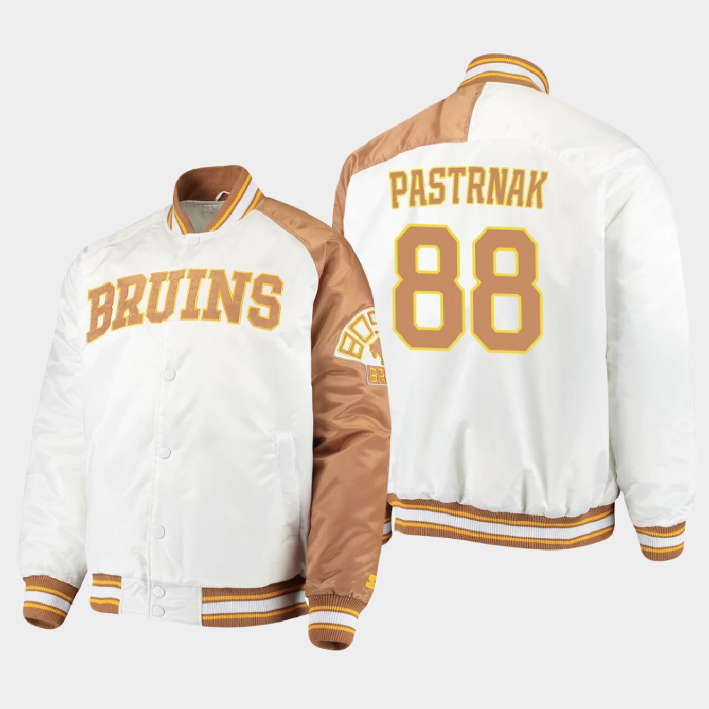 White Men's Boston Bruins David Pastrnak Jacket Dugout Championship