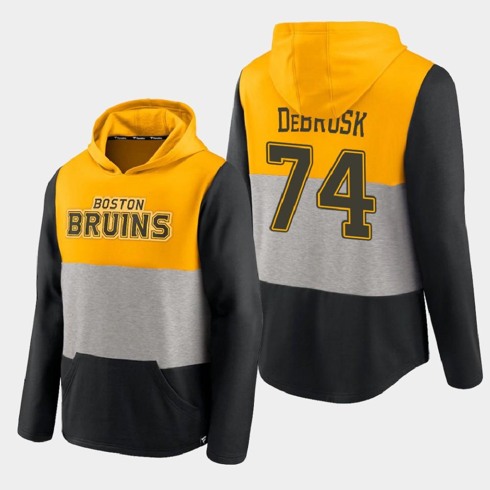 Men's Gold Boston Bruins Jake DeBrusk Prep Colorblock Hoodie