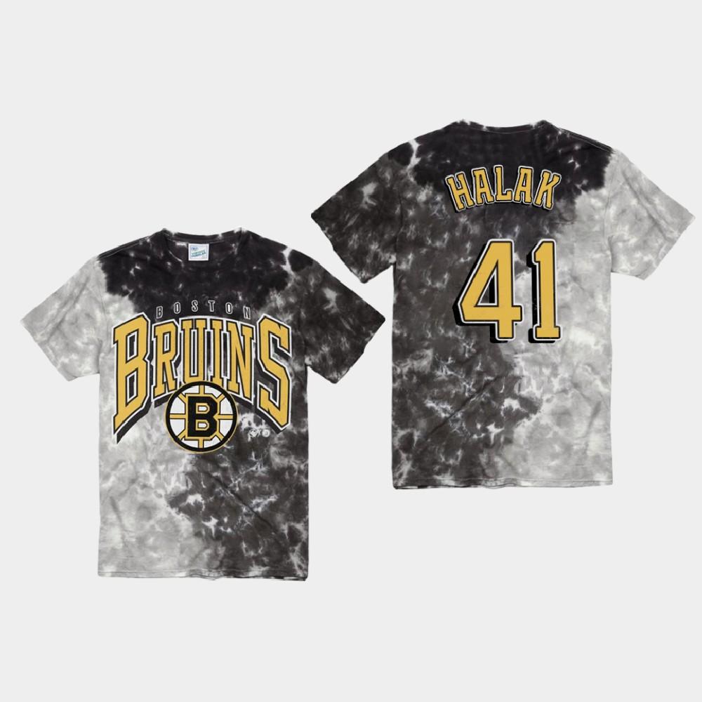 Men's Black Boston Bruins Jaroslav Halak T-Shirt Vintage Tubular