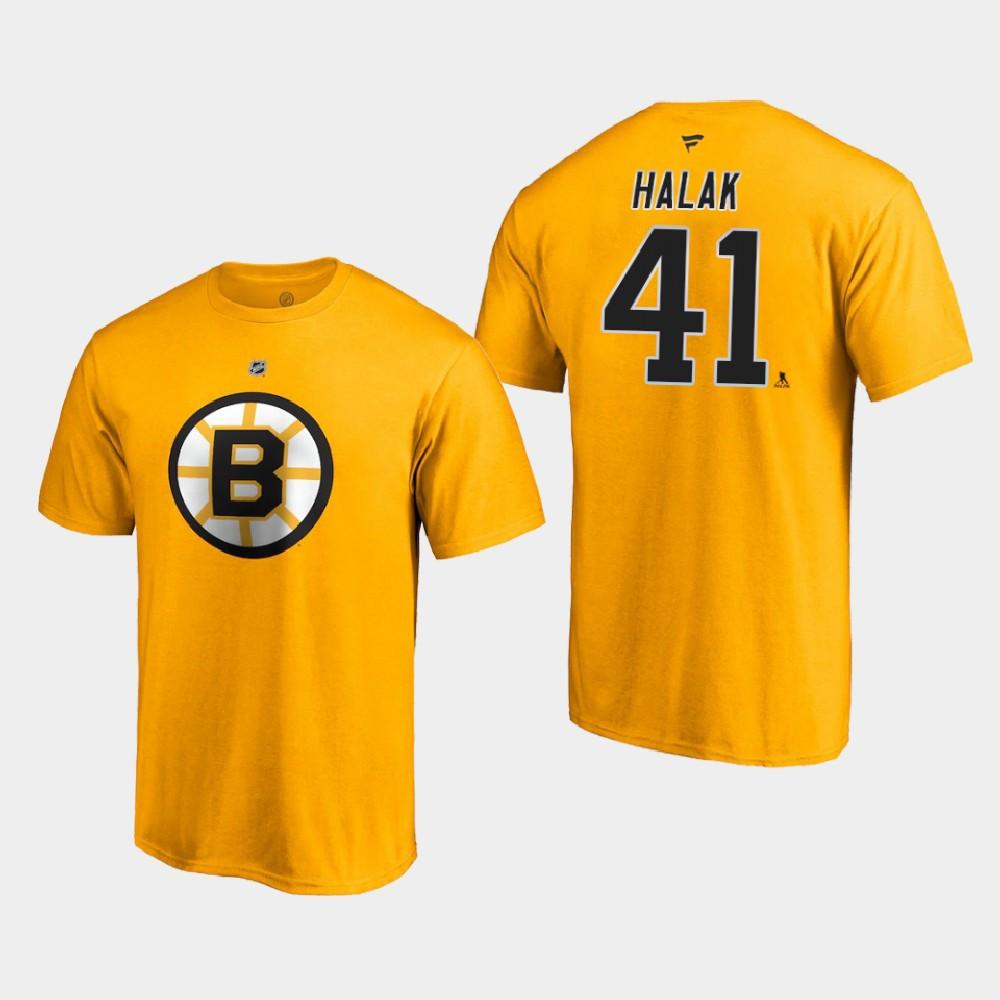 Men's Reverse Retro Gold Boston Bruins Jaroslav Halak T-Shirt