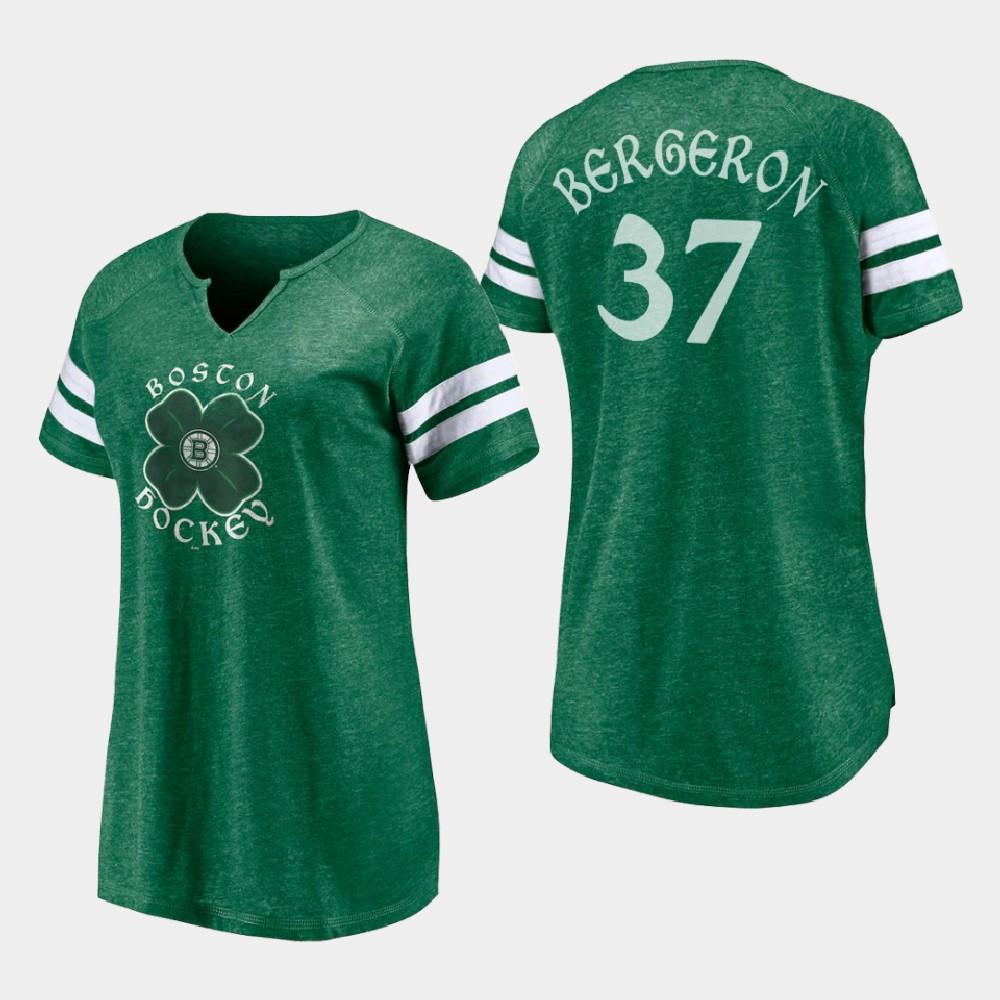 Women's Boston Bruins Patrice Bergeron St. Patrick's Day Kelly Green T-Shirt