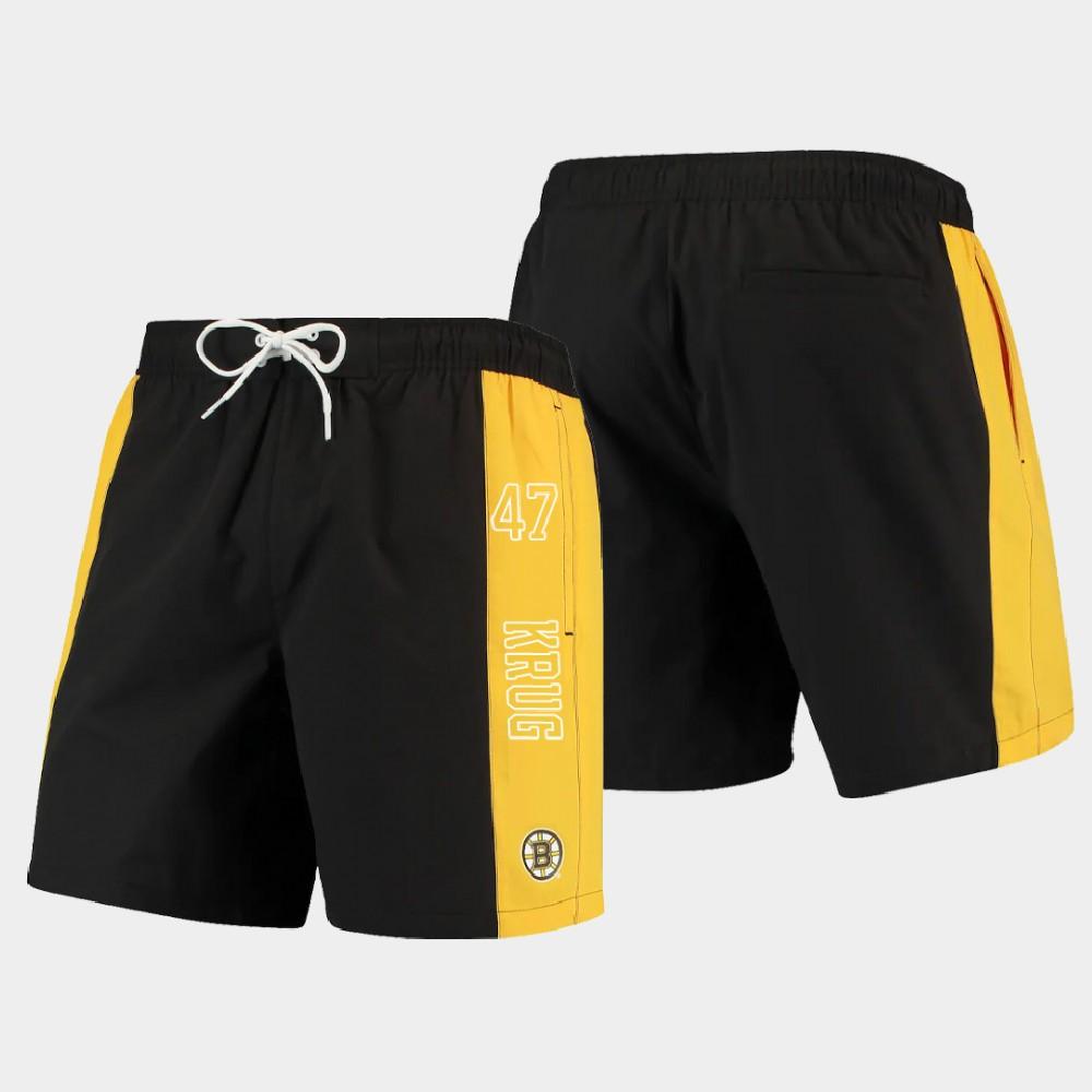 Men's Boston Bruins Torey Krug Shorts Swim Trunk Black Gold