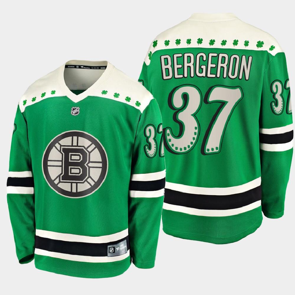 Men's Jersey Green Boston Bruins Patrice Bergeron St. Patrick's Day
