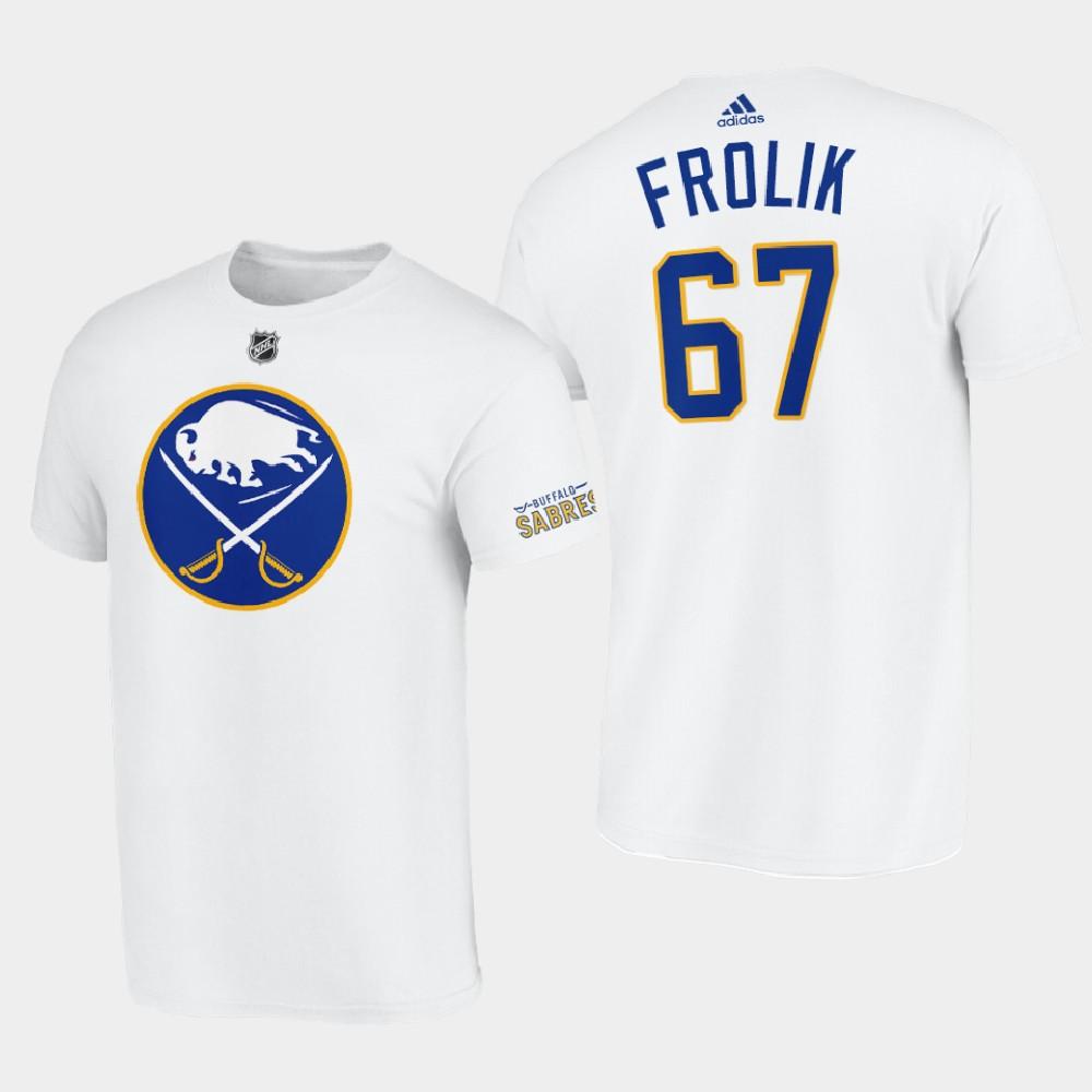 White Men's Away Buffalo Sabres Michael Frolik T-Shirt