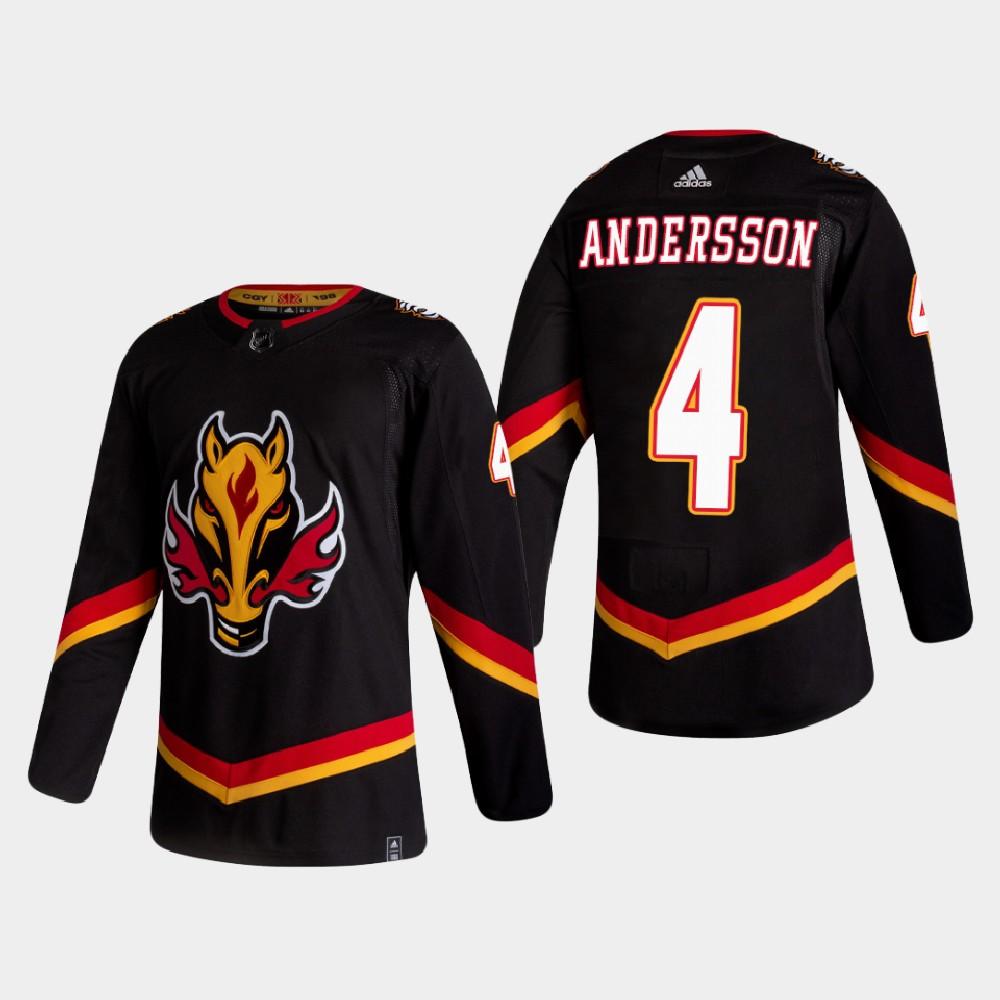 Men's Jersey Reverse Retro Black Calgary Flames Rasmus Andersson