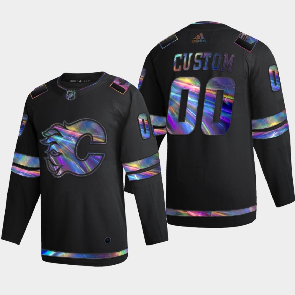Men's Jersey Black Custom Iridescent Holographic Calgary Flames