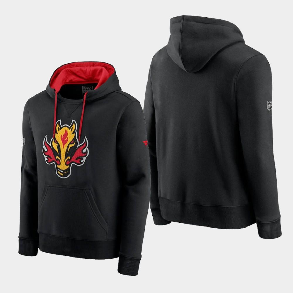 Men's Reverse Retro Black Calgary Flames Hoodie