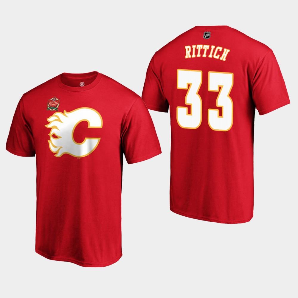 Men's Red Calgary Flames David Rittich T-Shirt Heritage Classic