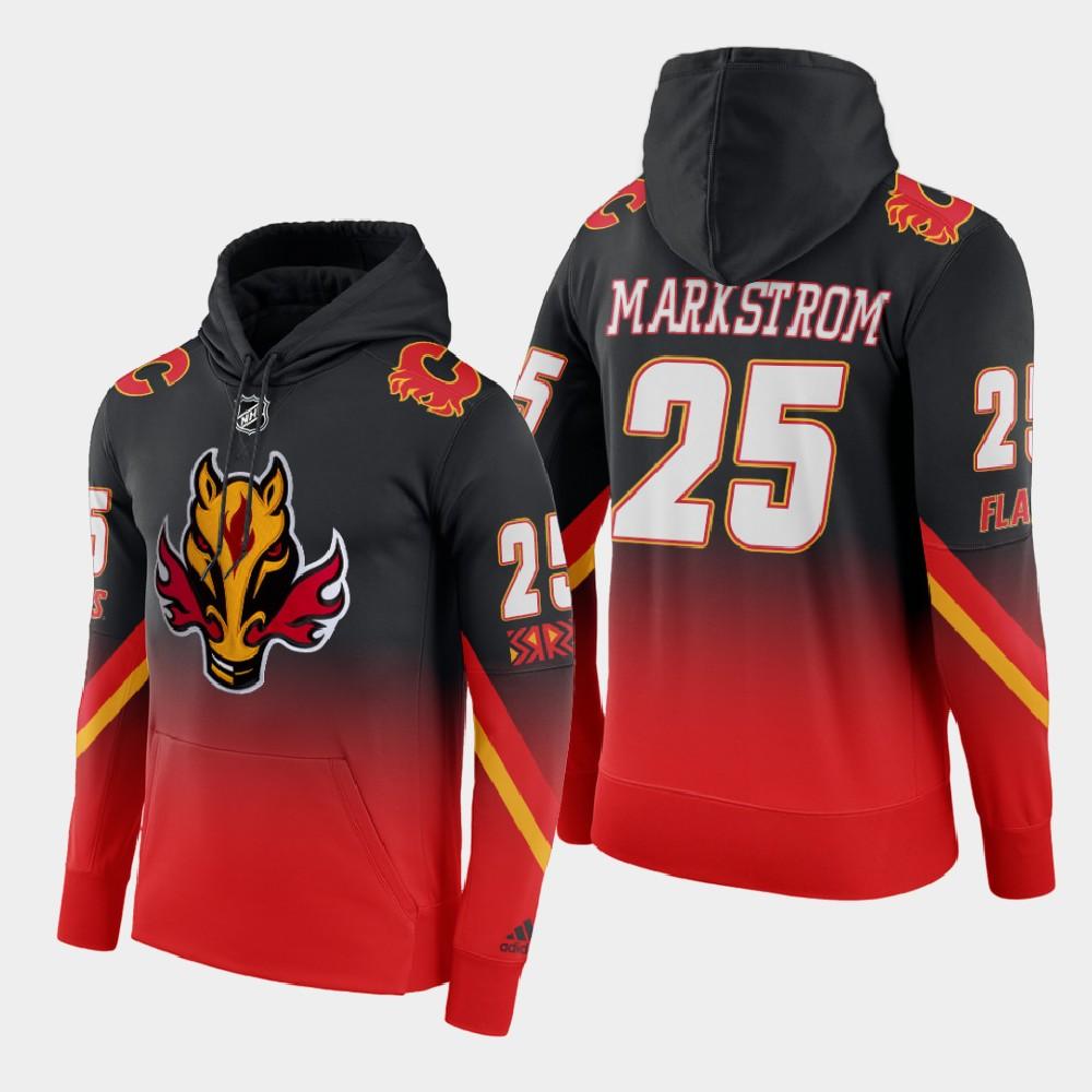 Men's Reverse Retro Calgary Flames Jacob Markstrom Red Black Hoodie