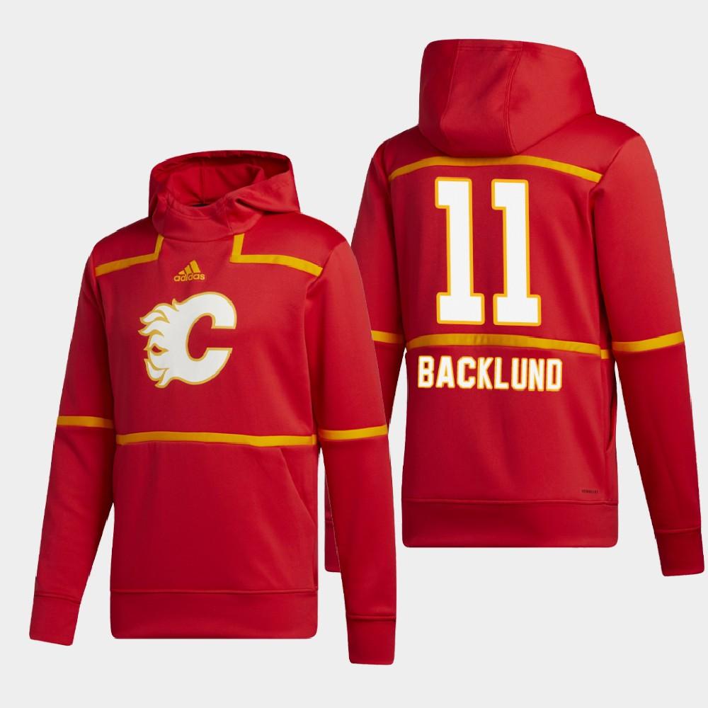Men's Red Calgary Flames Mikael Backlund Vintage Hoodie