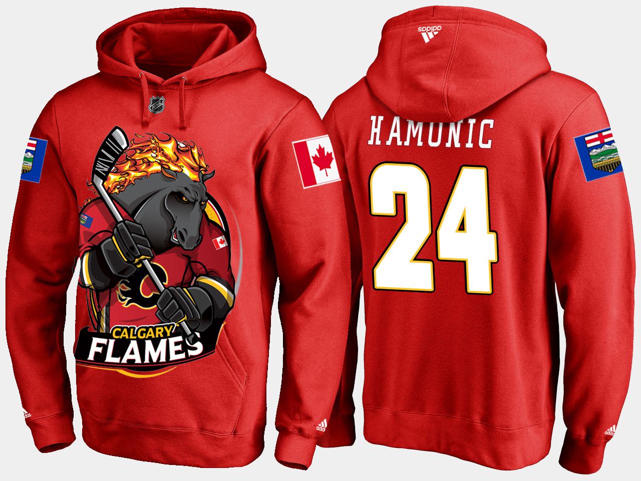 Men's Red Travis Hamonic Calgary Flames Cartoon Hoodie