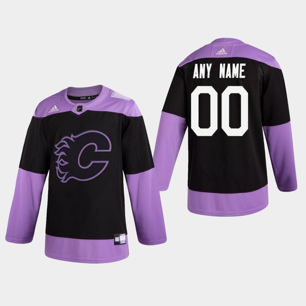 Men's Jersey Black Custom Calgary Flames Hockey Fights Cancer