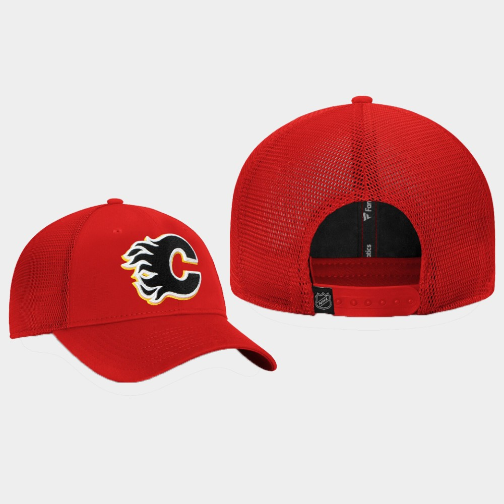 Men's Red Calgary Flames Hat Elevated Core Trucker
