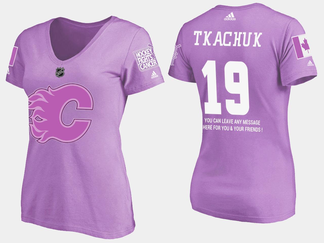 Women's Purple Calgary Flames Matthew Tkachuk T-Shirt Fights Cancer