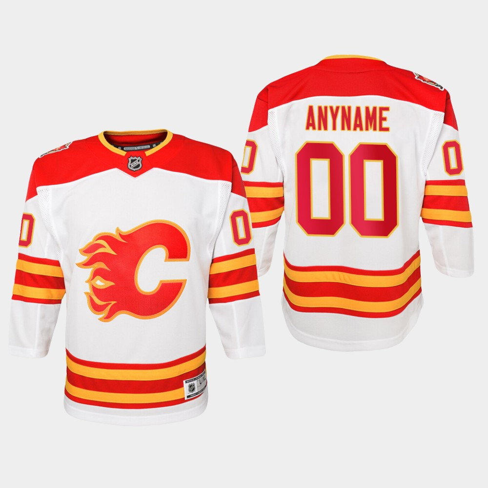 White Jersey Custom Youth Calgary Flames 2019 Heritage Classic