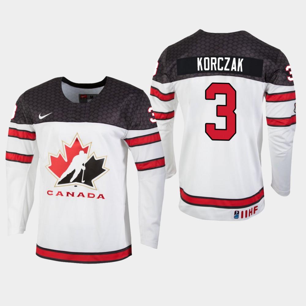 White Jersey Youth Canada Team IIHF World U18 Championship Kaedan Korczak