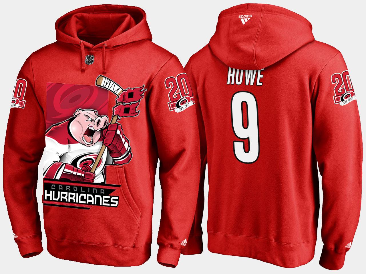 Men's Red Carolina Hurricanes Gordie Howe Cartoon Hoodie