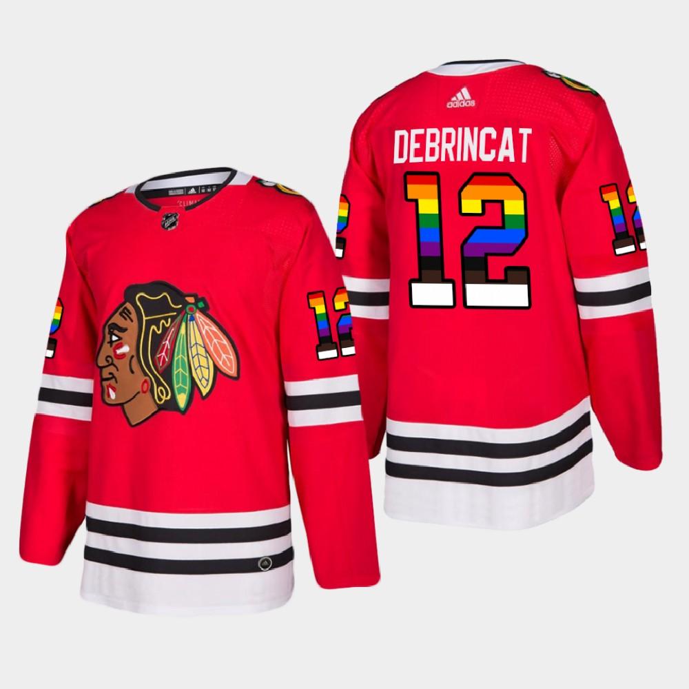Men's Jersey Red Chicago Blackhawks 2021 Pride Night Alex Debrincat
