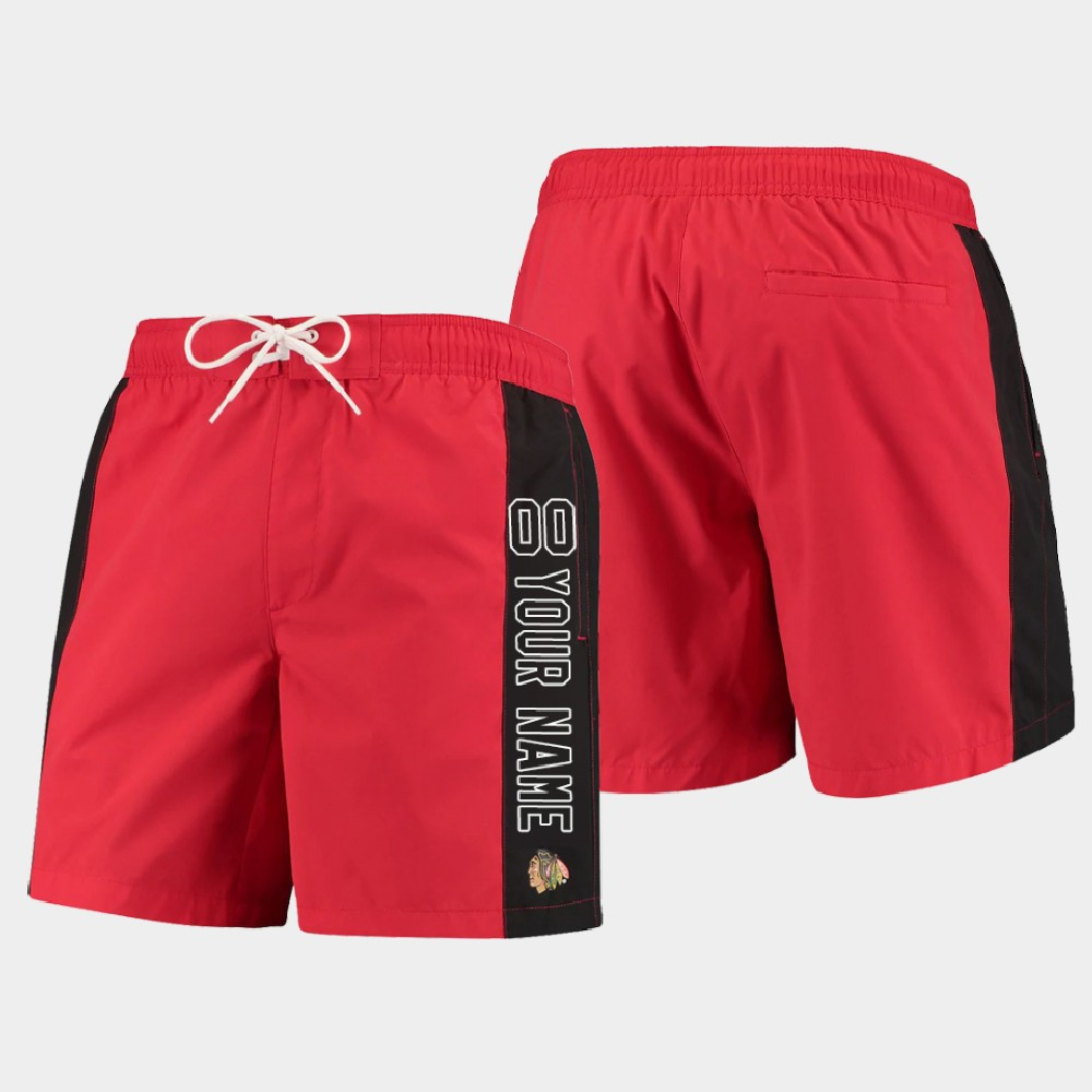 Men's Custom Chicago Blackhawks Shorts Swim Trunk Red Black