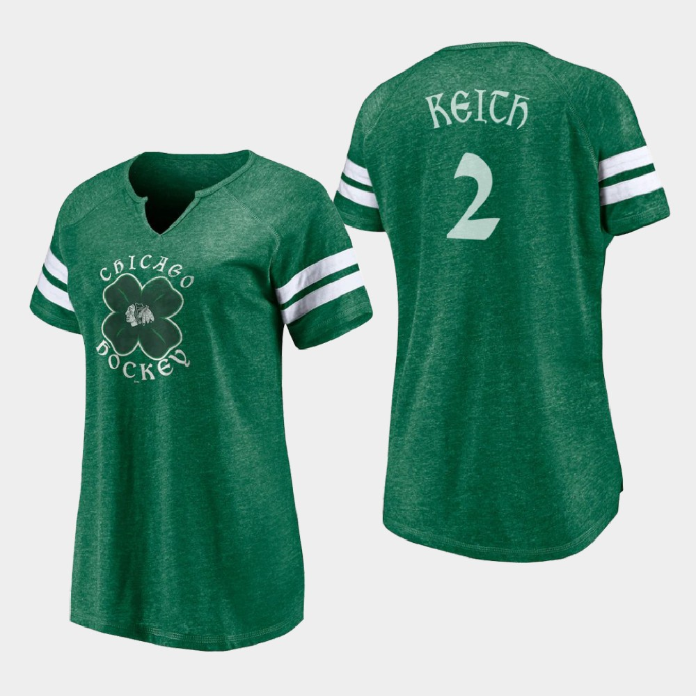 Chicago Blackhawks Women's Duncan Keith St. Patrick's Day Kelly Green T-Shirt