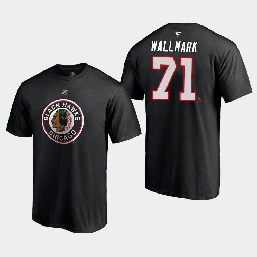 Men's Reverse Retro Black Chicago Blackhawks Lucas Wallmark T-Shirt