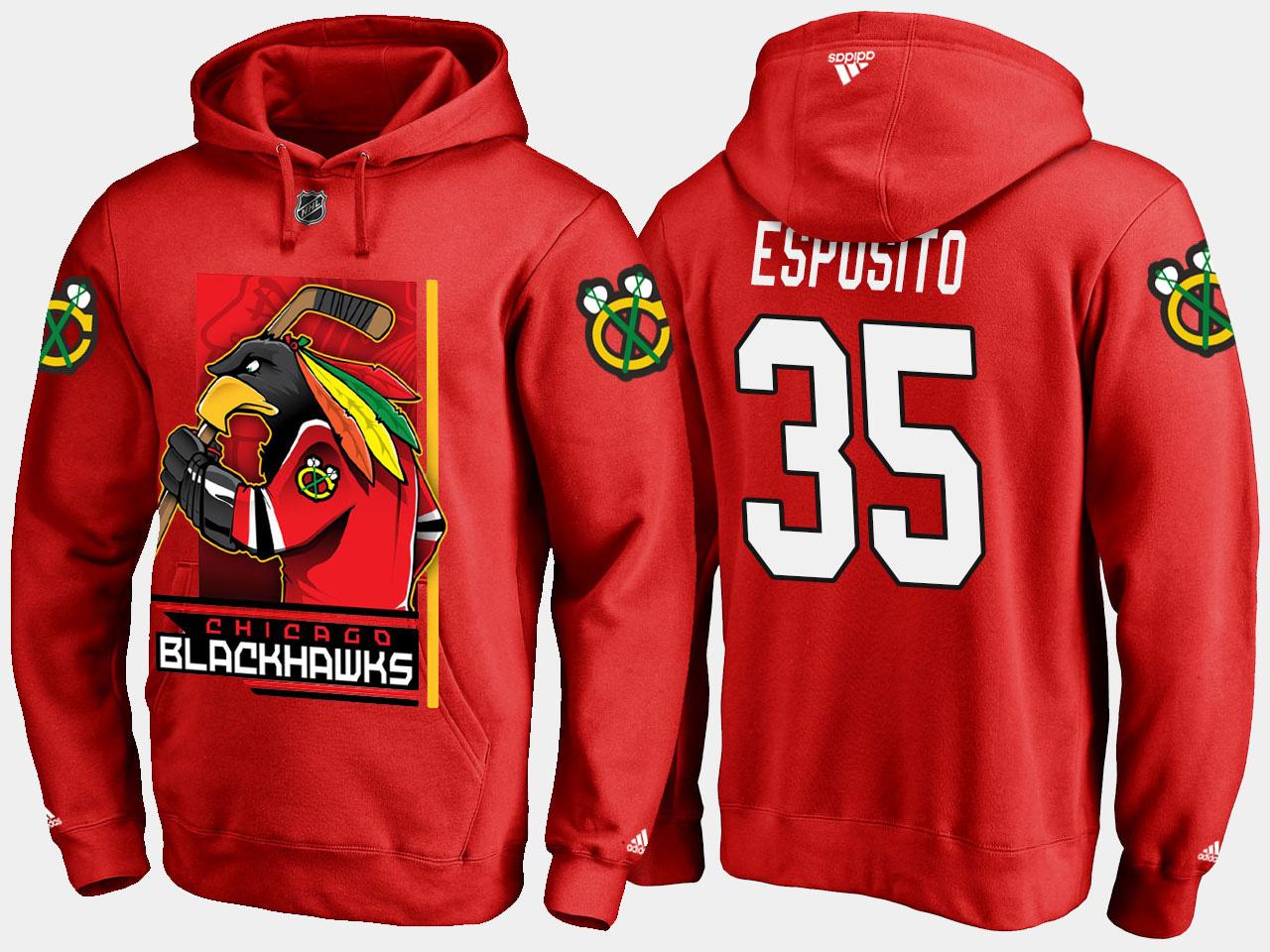 Men's Red Chicago Blackhawks Tony Esposito Cartoon Hoodie