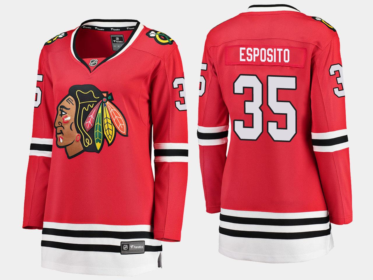 Jersey Red Home Chicago Blackhawks Women's Tony Esposito
