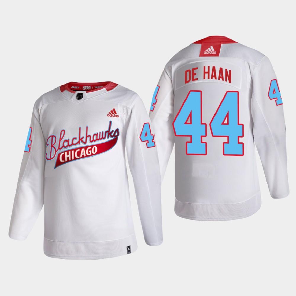 White Men's Jersey Chicago Blackhawks One Community Night Calvin de Haan