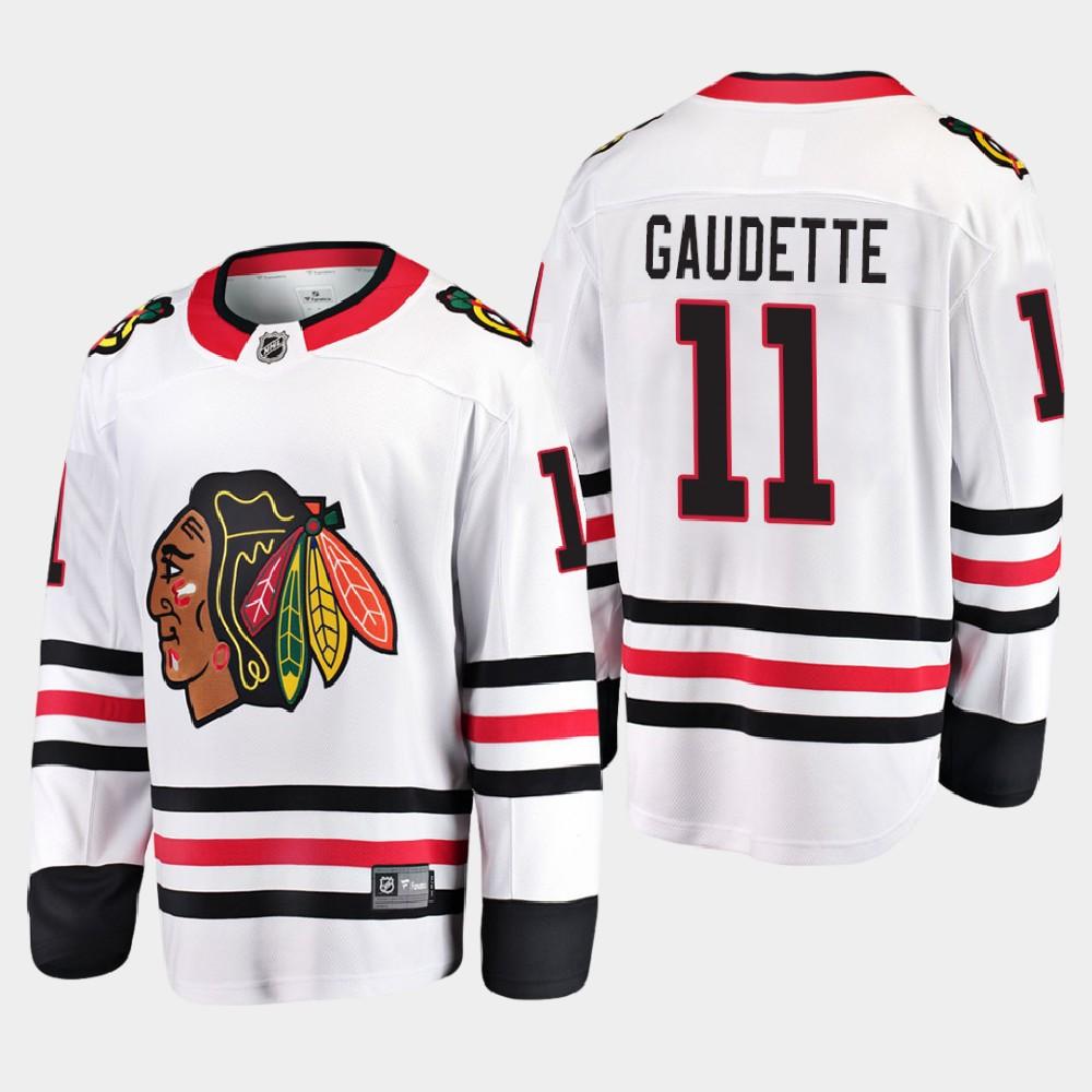 White Men's Jersey Away Chicago Blackhawks Adam Gaudette