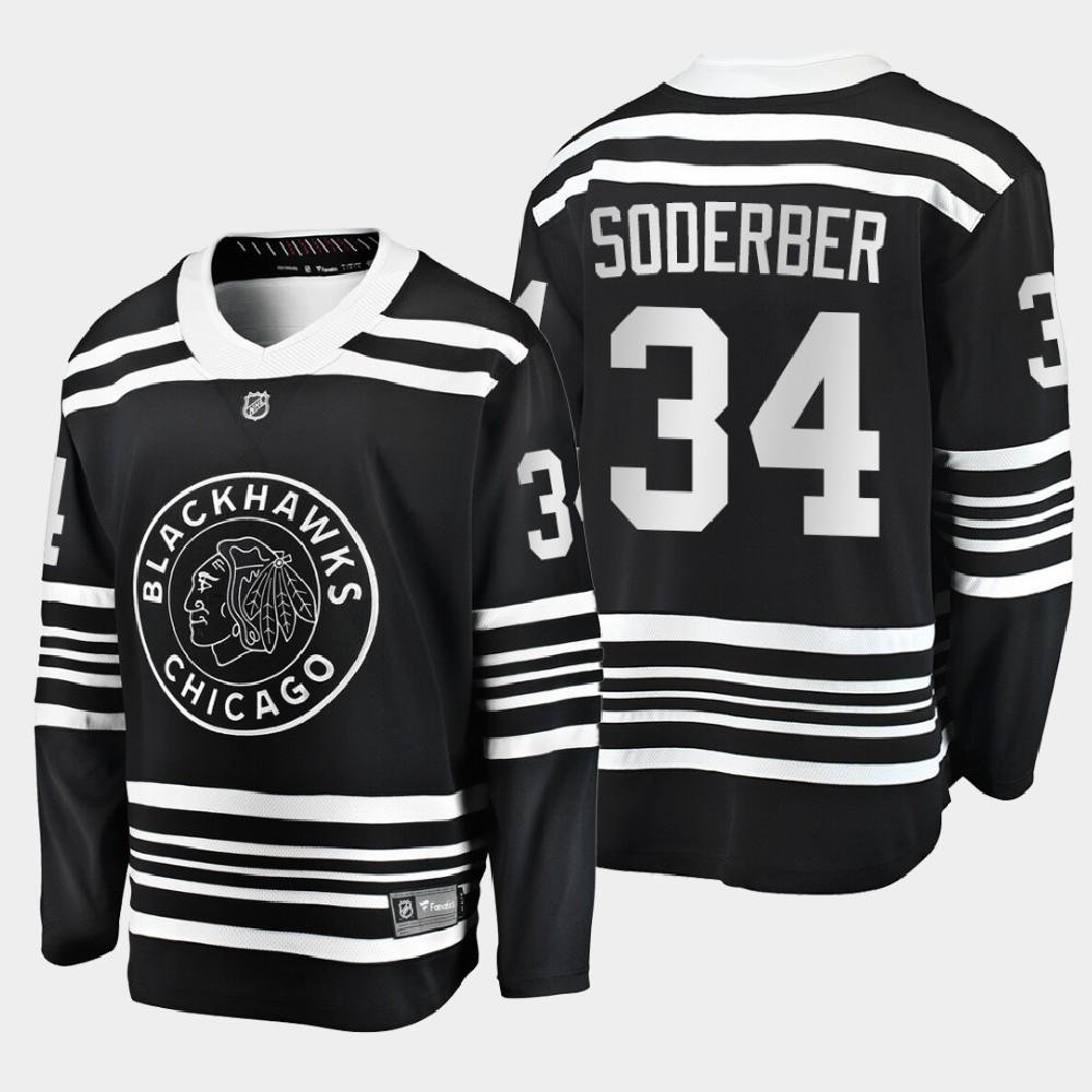 Men's Jersey Black Chicago Blackhawks Alternate Carl Soderberg