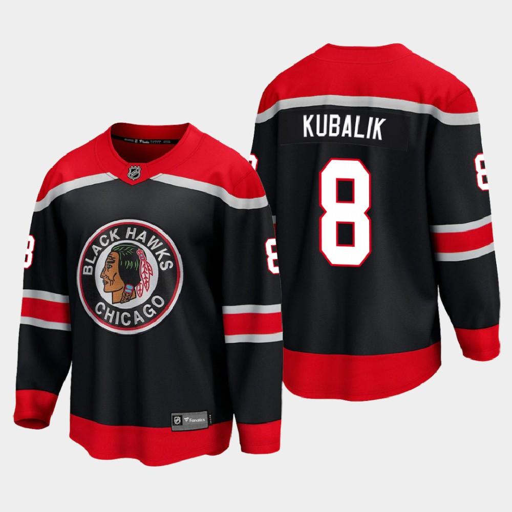 Men's Jersey Reverse Retro Black Chicago Blackhawks Dominik Kubalik