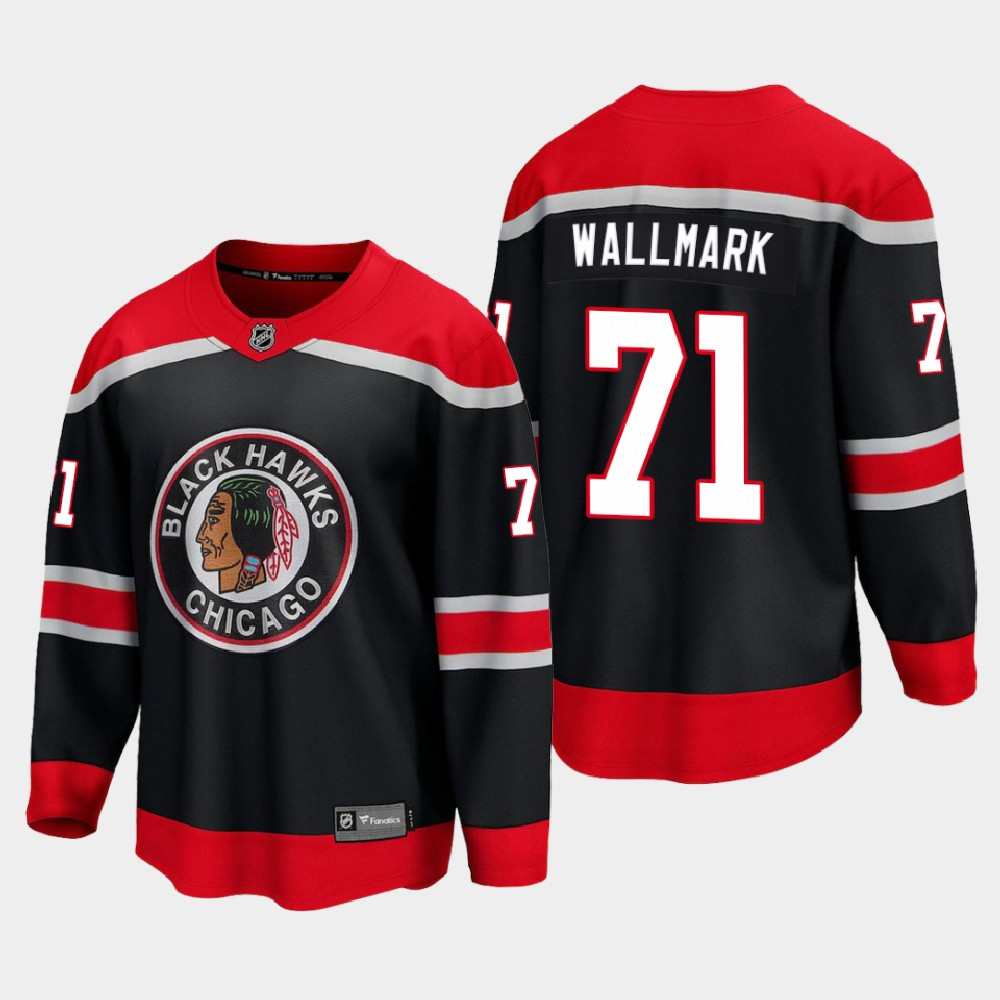 Men's Jersey Reverse Retro Black Chicago Blackhawks Lucas Wallmark