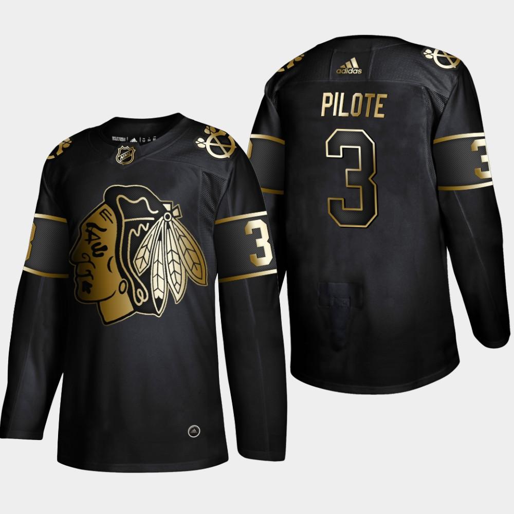 Men's Jersey Black Chicago Blackhawks NHL Golden Edition Pierre Pilote