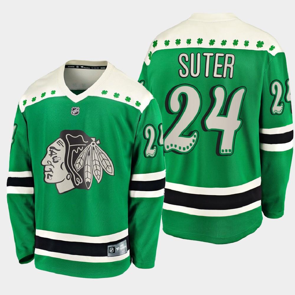 Men's Jersey Chicago Blackhawks Green Pius Suter St. Patrick's Day