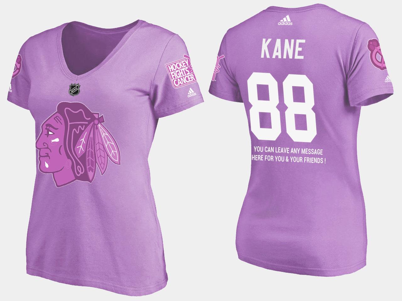 Chicago Blackhawks Women's Patrick Kane Purple T-Shirt Fights Cancer