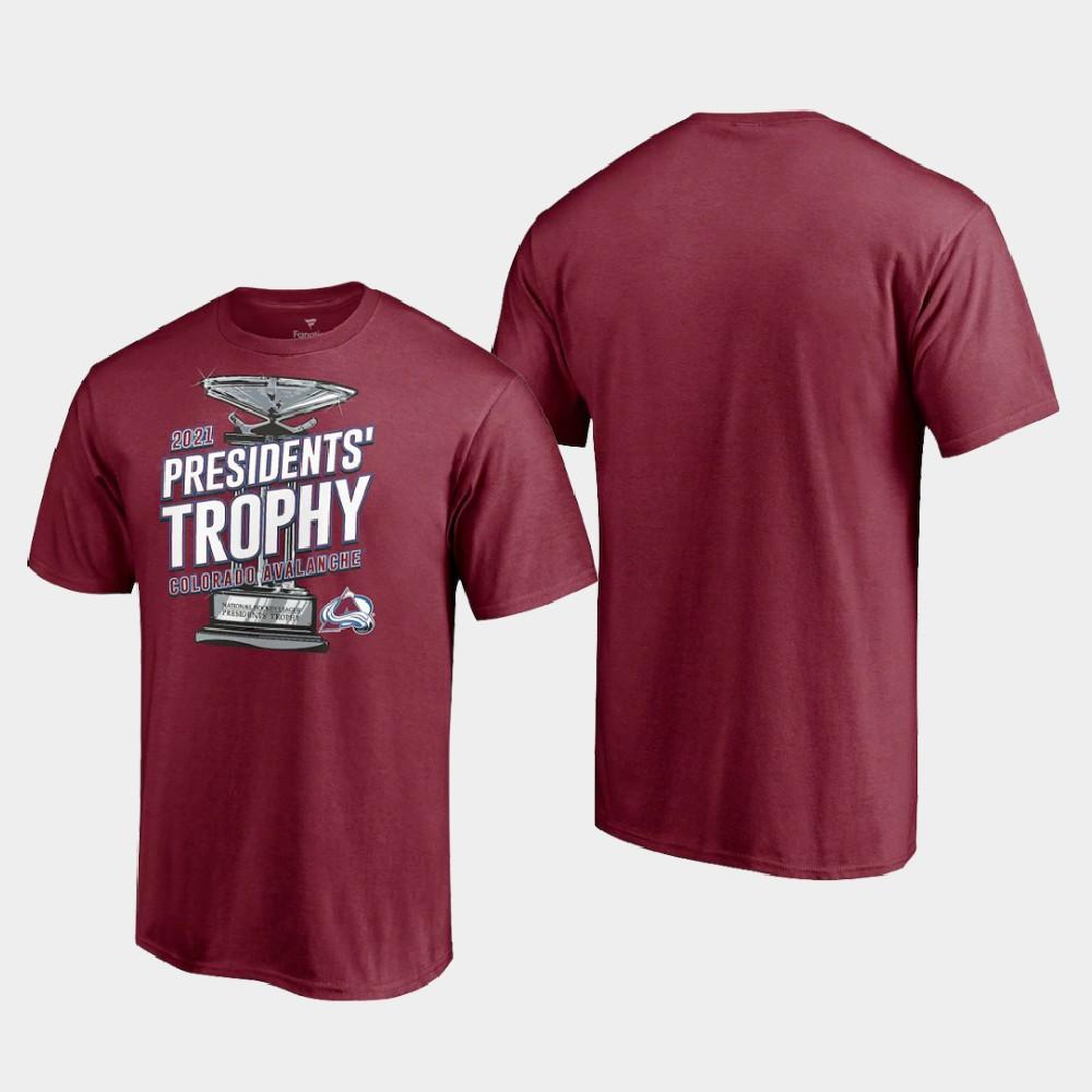 Men's Colorado Avalanche Burgundy T-Shirt 2021 Presidents' Trophy