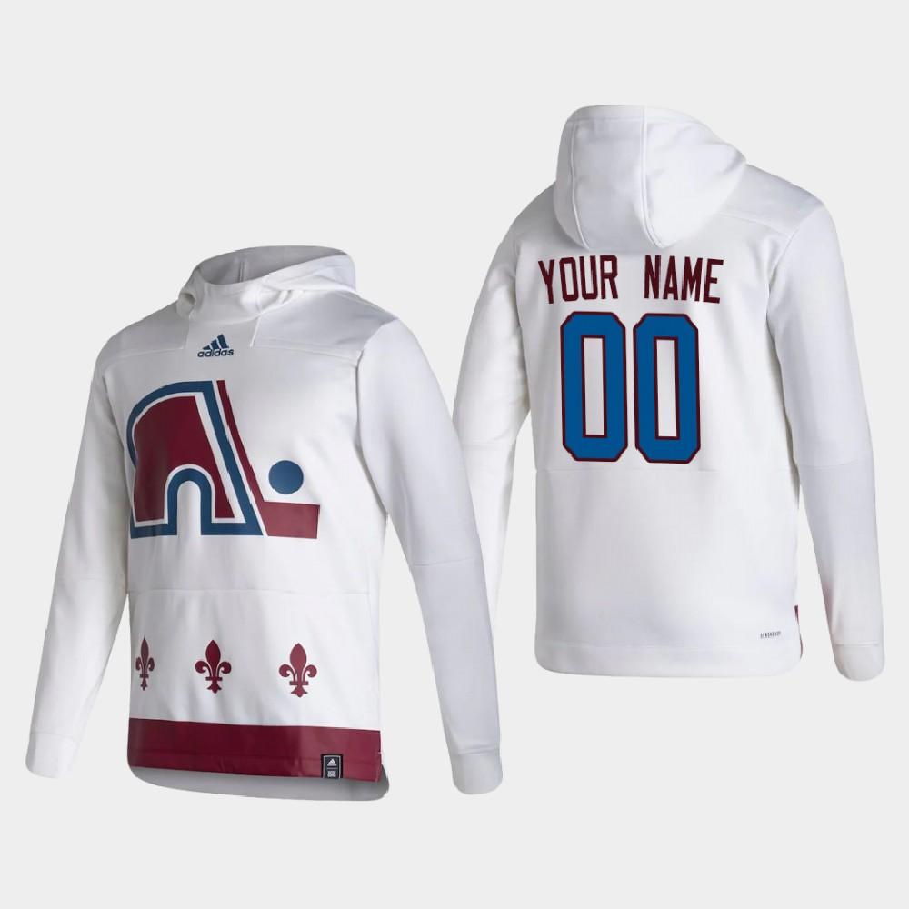 White Men's Reverse Retro Custom Colorado Avalanche Hoodie