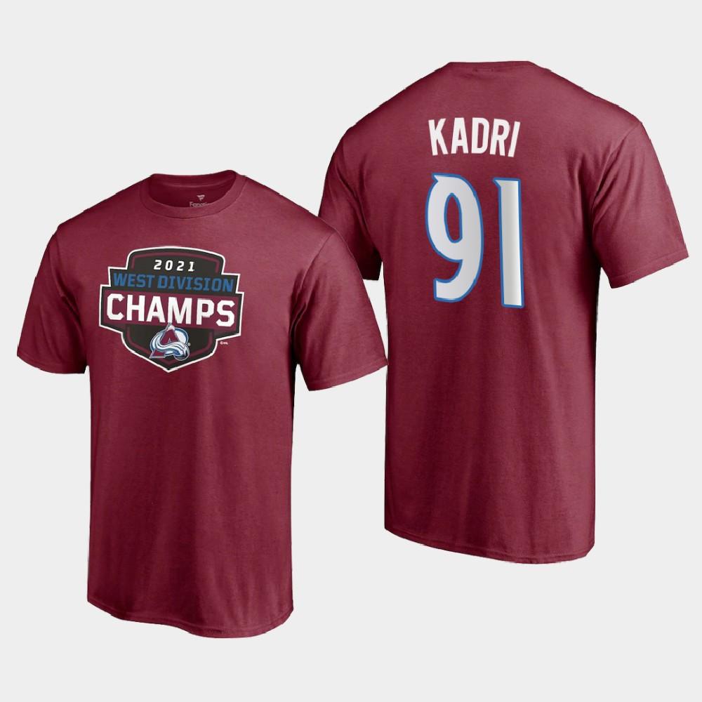 Men's Colorado Avalanche Burgundy Nazem Kadri T-Shirt 2021 West Division Champions