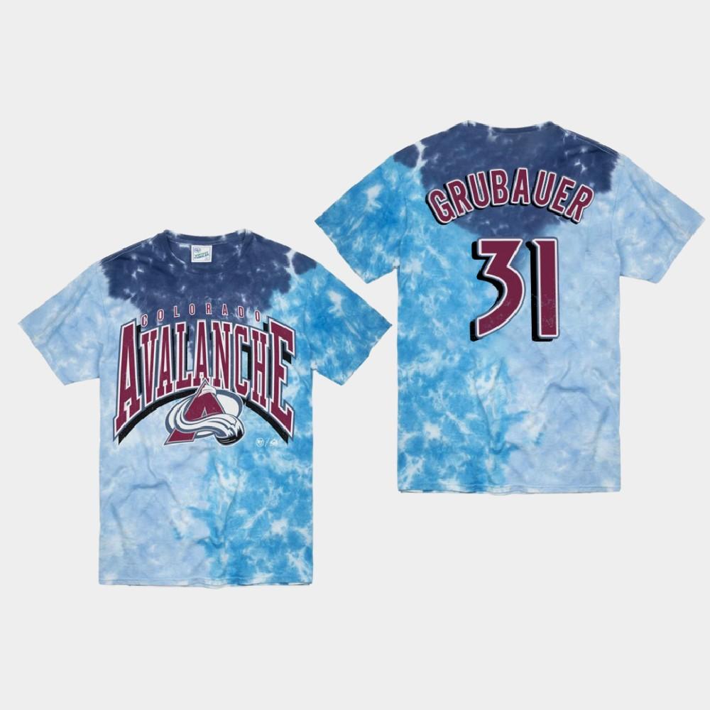 Men's Blue Colorado Avalanche Philipp Grubauer T-Shirt Vintage Tubular